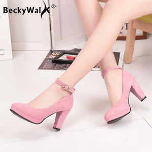 Women Pumps Platform Suede Shoes