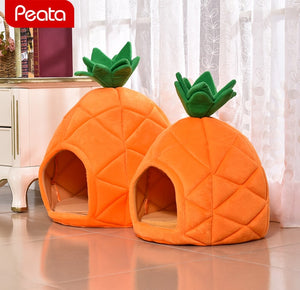 Winter Warm Dog House for Small Dogs Pineapple Shape House Foldable Soft
