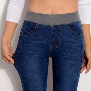 Plus Size 26-40 Casual Pants High Waist Jeans Elastic Waist Pencil Pants