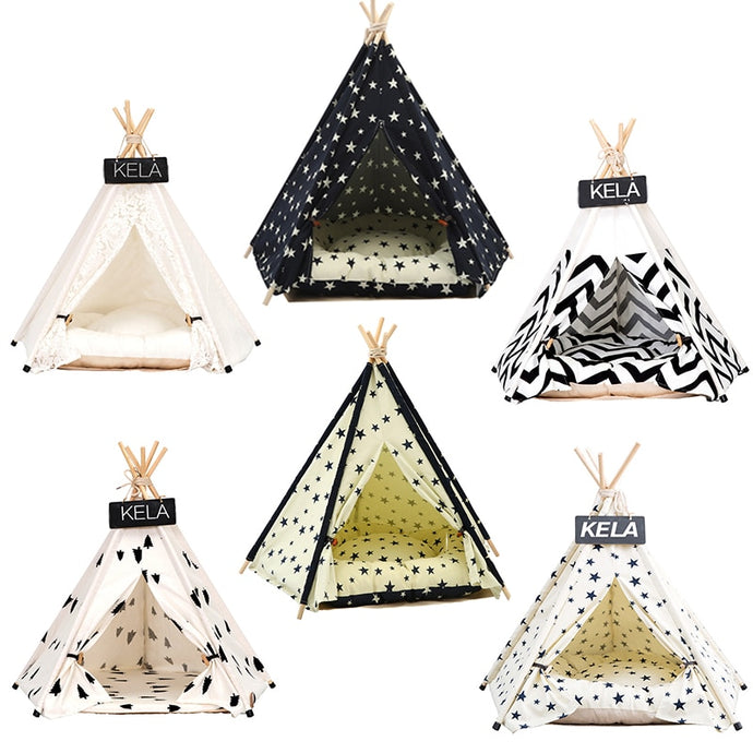 Portable Washable Pet Teepee Stripe Pattern  Not Included Mat