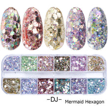 Load image into Gallery viewer, 1 Set Mixed Color 3D Ultrathin Sequins Nail Glitter Flakes 1/2/3mm