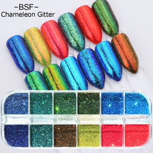 1 Set Mixed Color 3D Ultrathin Sequins Nail Glitter Flakes 1/2/3mm