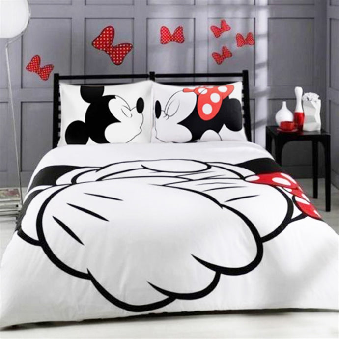 Disney black white mickey minnie valentine duvet cover set king queen full twin size bed linen set