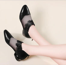 Load image into Gallery viewer, Pointed Elegant Women Black Lace Ankle Flower