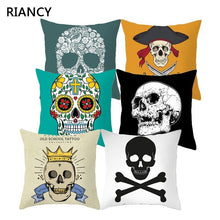 Load image into Gallery viewer, Sugar Skull Printed Cushion Cover Pillow Case