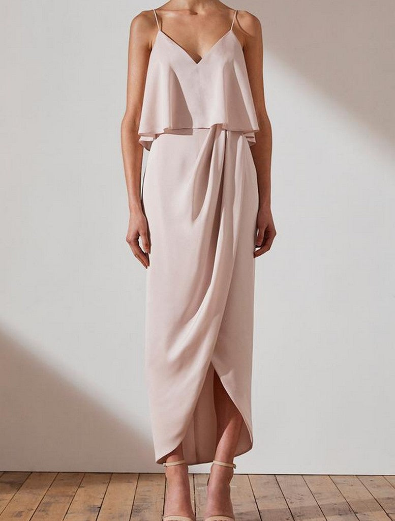 LUXE DRAPED COCKTAIL FRILL DRESS