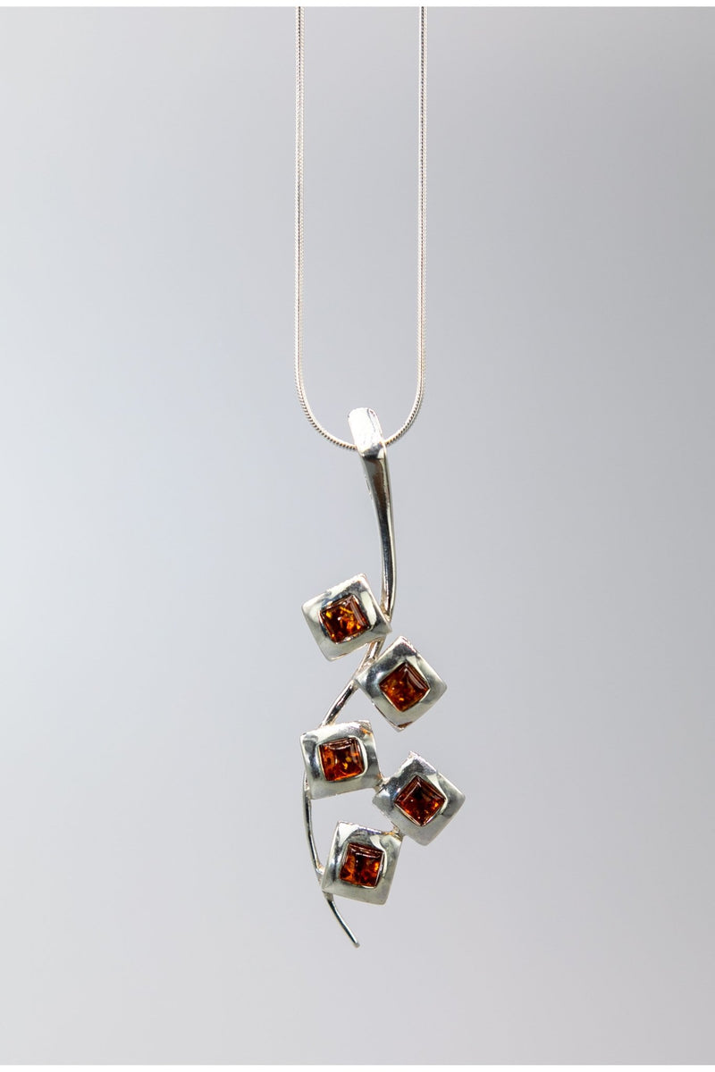 Baltic Honey Amber Cascading Silver Squares Necklace - L'Atelier Global