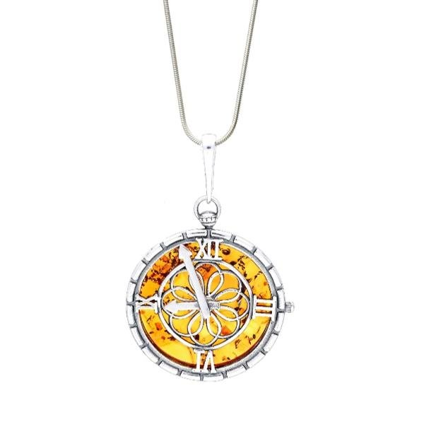 Baltic Honey Amber Round Timepiece Necklace - L'Atelier Global