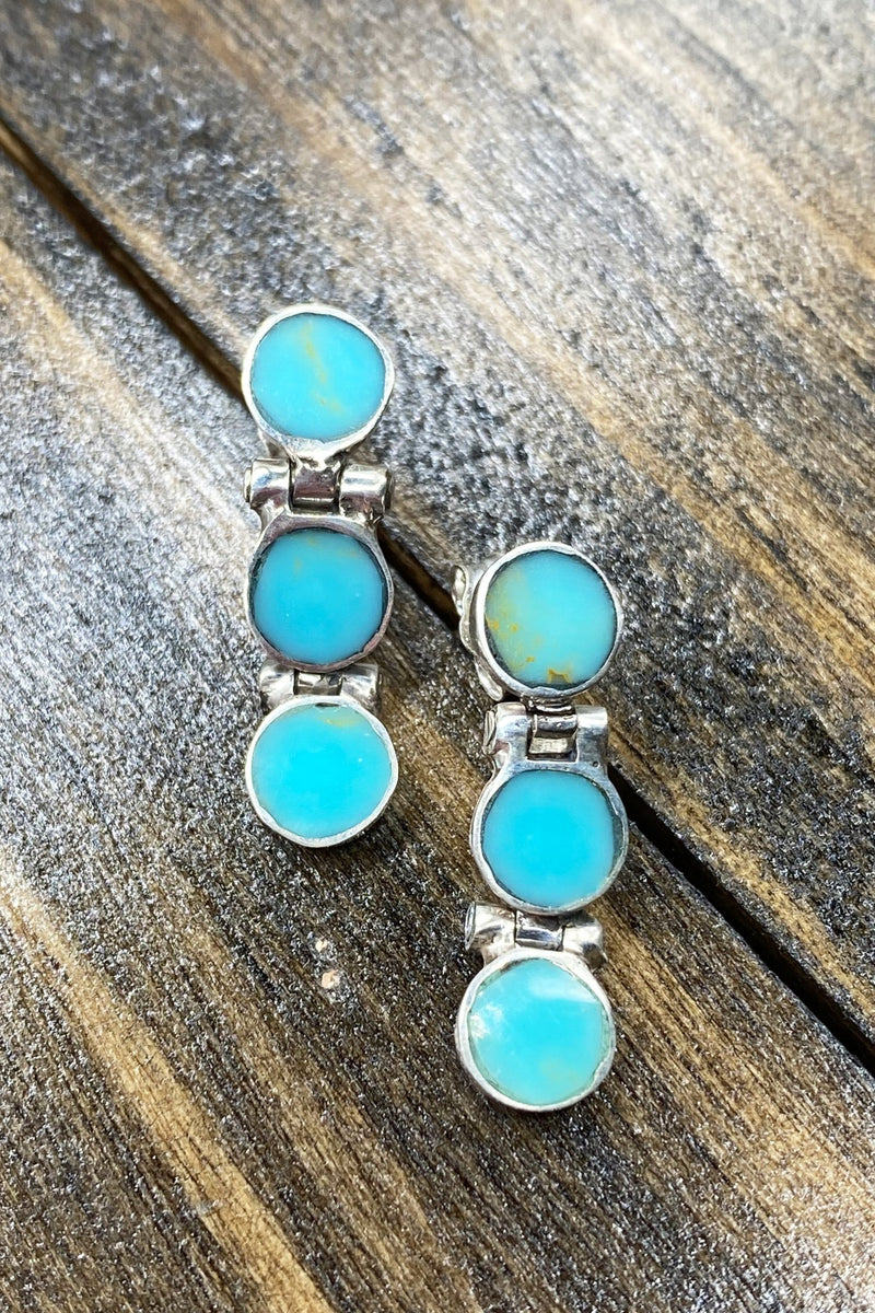 Chilean Turquoise Round Drop Earrings - L'Atelier Global