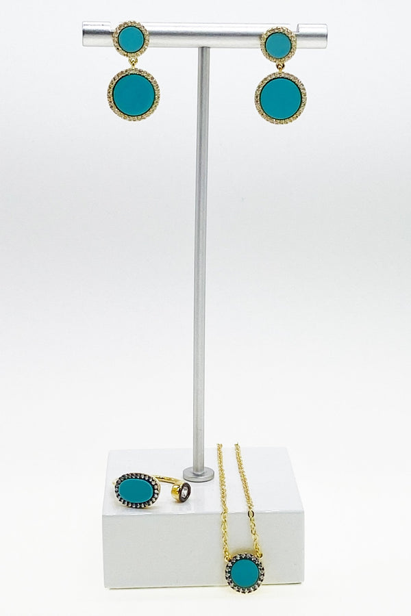 Gold and Turquoise Drop Earrings - L'Atelier Global
