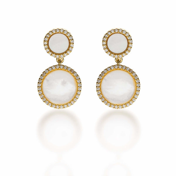 Gold Mother of Pearl Drop Earrings - L'Atelier Global