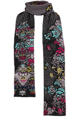 Lily of The Valley Serbian Merino Reversible Scarf in Black - L'Atelier Global