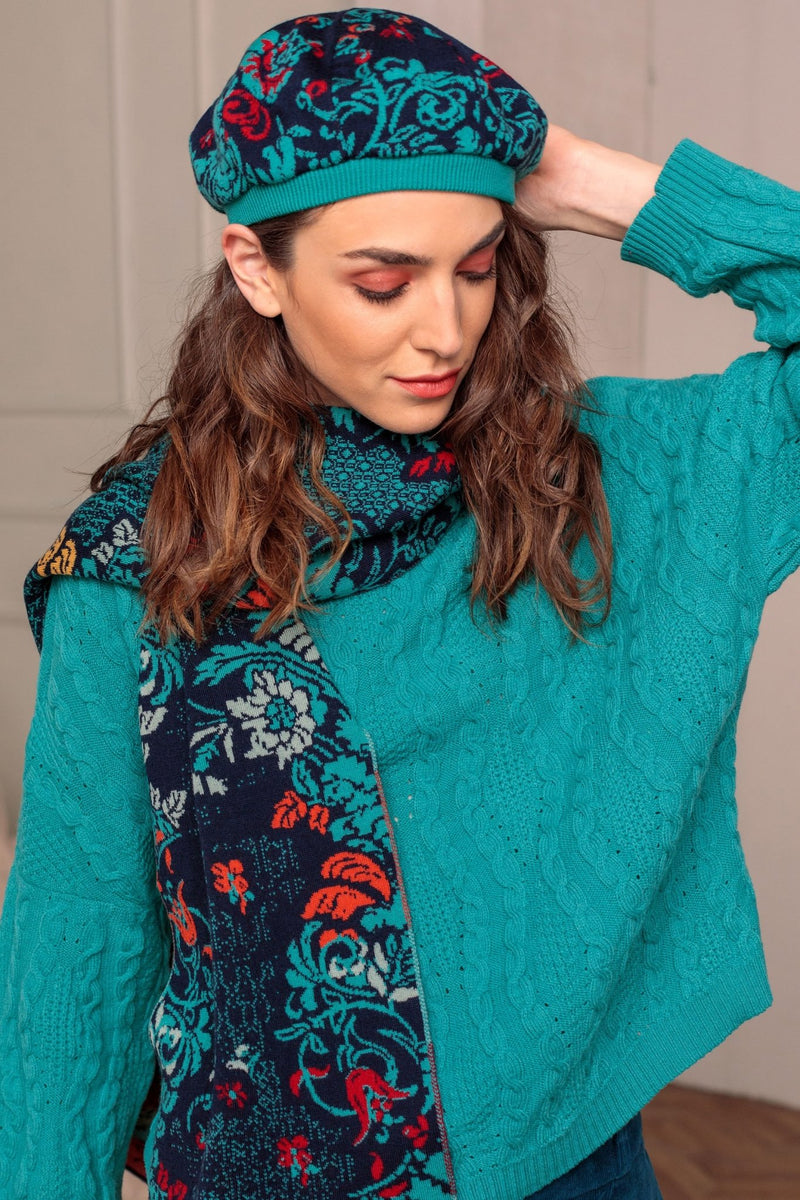 Lily of The Valley Serbian Merino Wool Scarf & Hat in Blue - L'Atelier Global