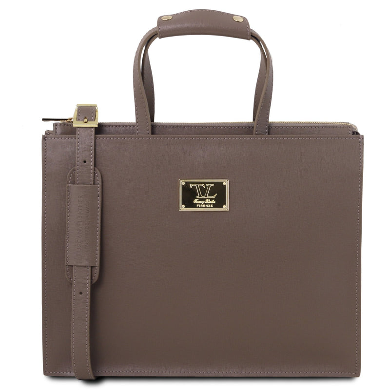 Palermo Saffiano Leather Briefcase 3 Compartments for Women - L'Atelier Global
