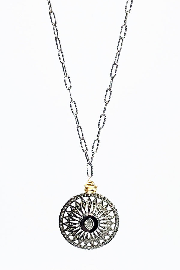 Rose Cut Diamond Coin Antique Silver Necklace - L'Atelier Global