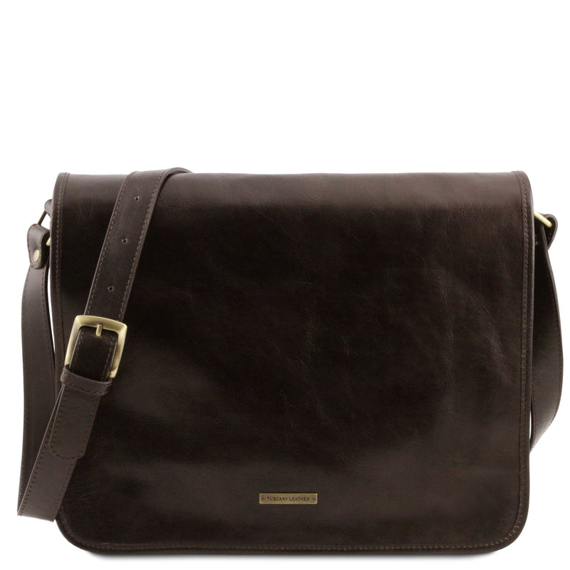 TL Messenger Two Compartment Leather Shoulder Bag - Large - L'Atelier Global