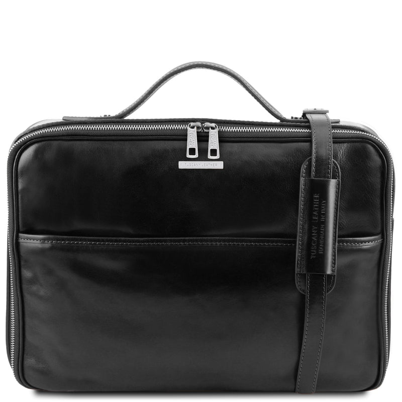 Vicenza Leather Laptop Briefcase with zip Closure - L'Atelier Global