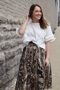 Snakeskin Pleated Button-Down Midi Skirt