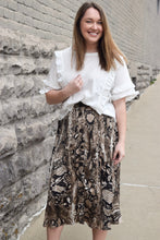Load image into Gallery viewer, Snakeskin Pleated Button-Down Midi Skirt