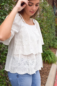 Paros White Peasant Top
