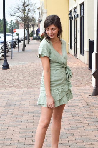 Sage Linen Mini Wrap Dress