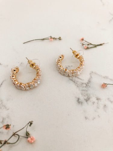 Flower Shell Mini Hoops