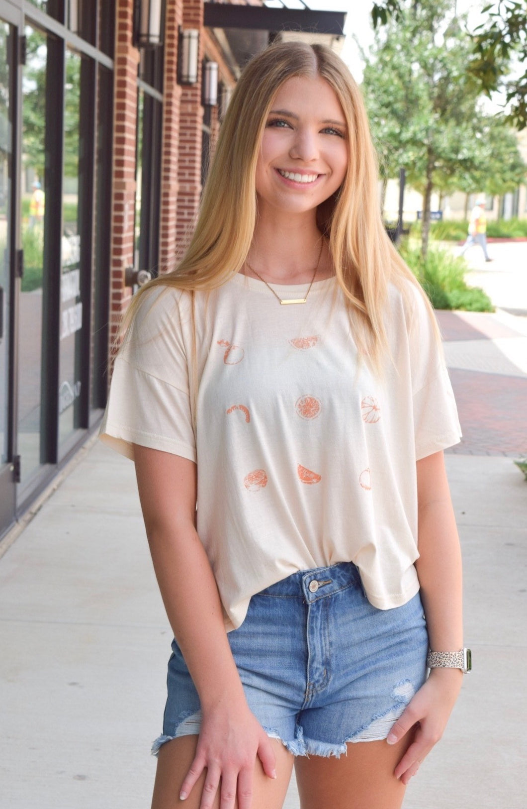 Cream Cropped Graphic Tee