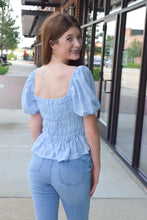 Load image into Gallery viewer, Baby Blue Smocked Top