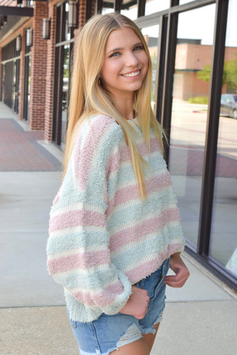 Blue & Pink Striped Knit Sweater