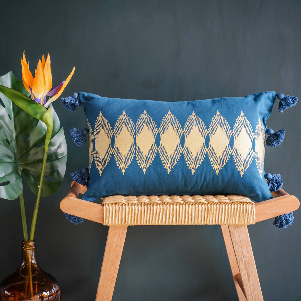 Adah Recycled Cotton Gold Printed Cushions