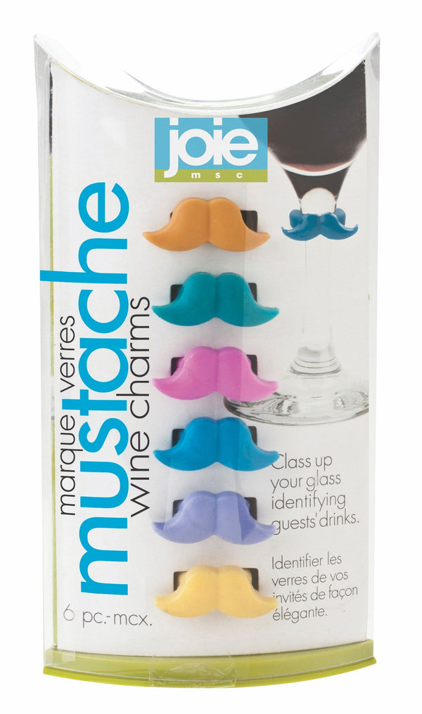 6pc Mustache Wine Charms