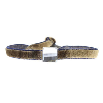 Bracelet velour stretch strass carrÉ