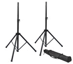 Rok-It Tripod Base Speaker Stand Set Pair W/ Bag - New