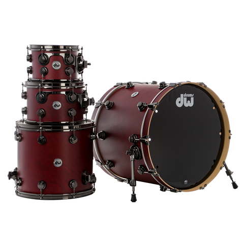 "Drum Workshop Collector's Series Pure Maple 4-Piece 22"" Shell Pack - Cherry Satin Oil With Black Nickel Hardware"