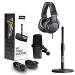 Shure MV7K Desktop Podcasting Bundle w/Over Ear Headphones