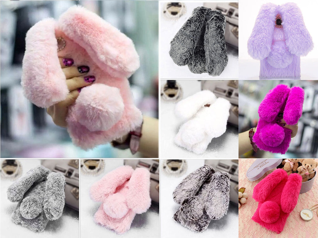 Cute Rabbit Ears Fur Plush diamond Phone Case For iPhone