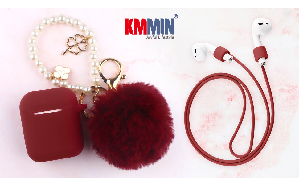 Apple AirPods 1&2 Charging Case Cover + Ear Hook Grips + Anti-Lost Cute Fluffy Pompom Keychain