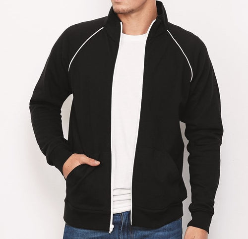 Men's Piped Cadet Collar Fleece Jacket