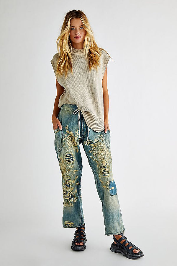 Embroidered Okeefe Denims