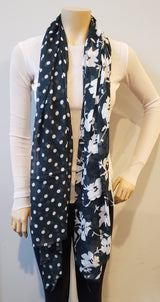 Floral Black & Bottle Green Polka Dot Scarf