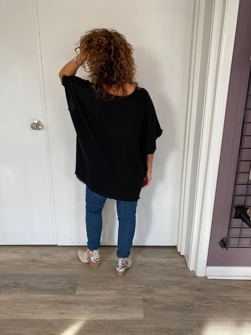 Mini Fringe V-Neck Poncho in Black