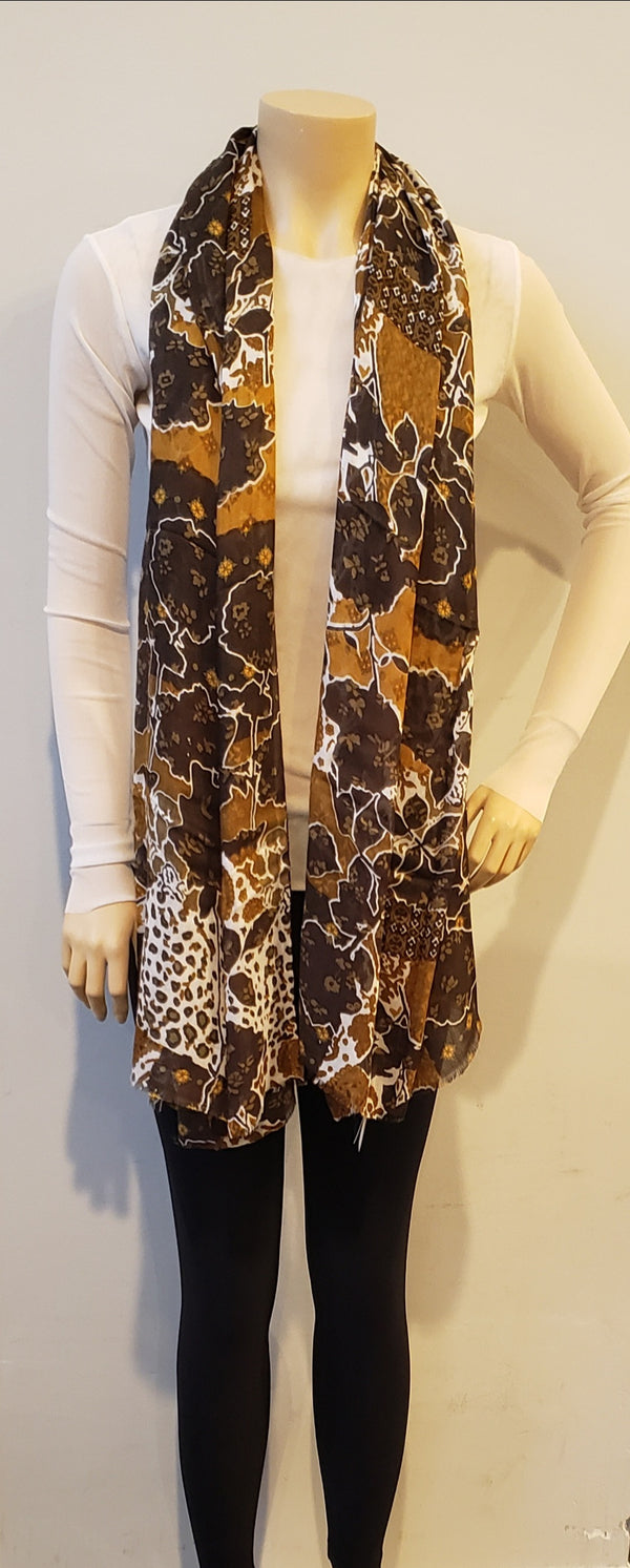 Purple & Olive Floral Leopard Print Scarf
