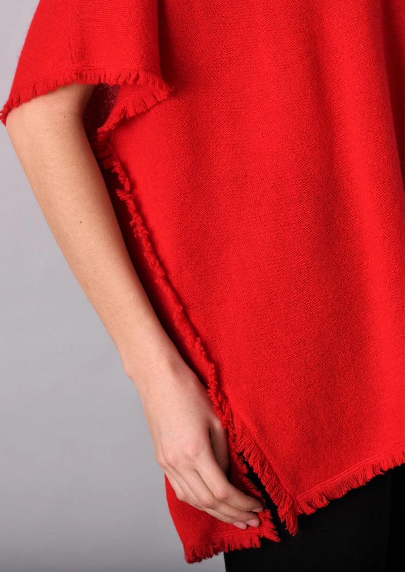 Mini Fringe V-neck Poncho in Red
