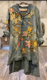 Denim Embroidered Gypsy Johnny Shirt