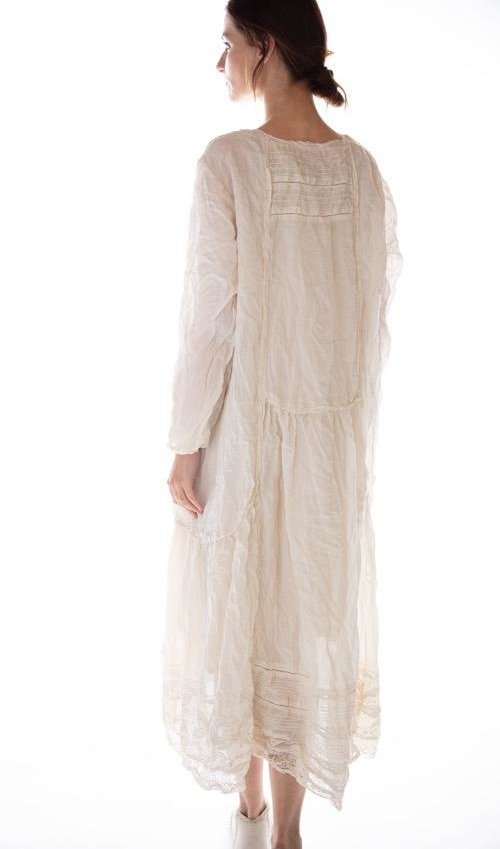 Linen Helenia Dress with Lace and Pintucks