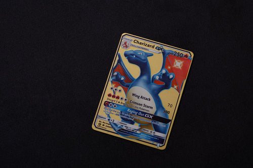 Gold Metal Stainless Steel Charizard Shiny GX - Hidden Fates - Proxy Card - Free Shipping - Pokemon [In Stock]