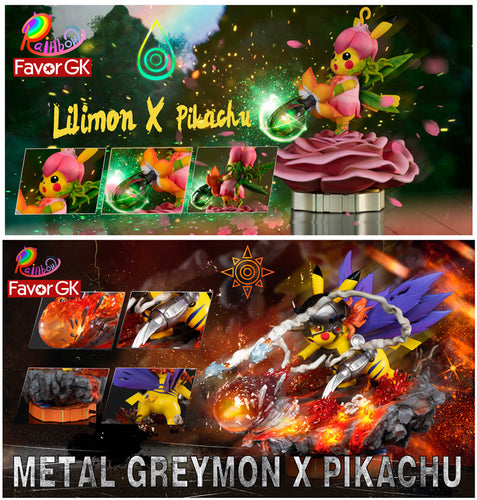 Metal Greymon (Vaccine) & Lilimon Cosplay Pikachu - Pokemon Digimon Resin Statue - Rainbow Studio [Pre-Order]