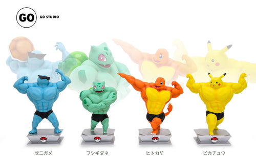 Muscle Show Series Pikachu, Charmander, Squirtle & Bulbasaur - Pokemon Resin Statue - GO Studios [Pre-Order] - FavorGK