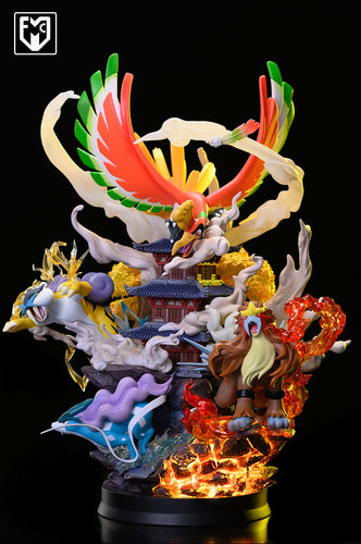 Legend Series Burning Lengend with LED - Raikou, Suicune, Ho-Oh - Pokemon Resin Statue - MFC Studios [Pre-Order]