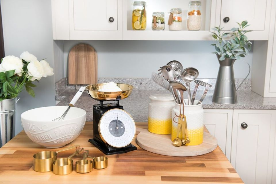 Kitchen Pantry Collection with Ceramic and Metal with Brass and Yellow Details